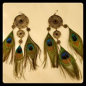 Large statement peacock earrings!